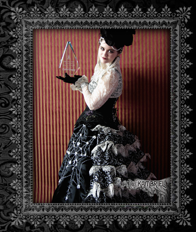Kambriel: Parisian Bustle Skirt :  skirt goth black and white steampunk